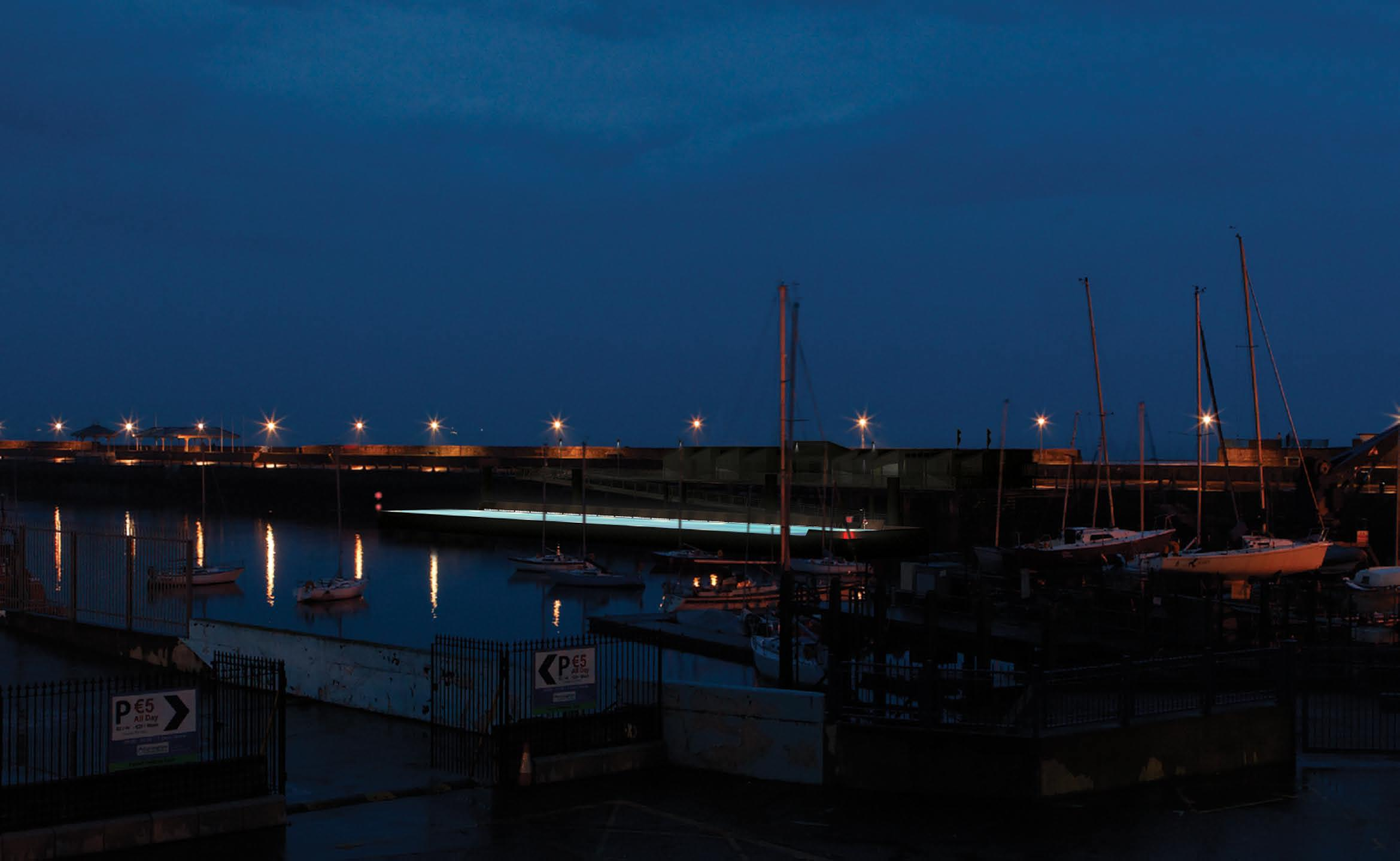 Night view of East Pier from the rear of the National Yacht Club.