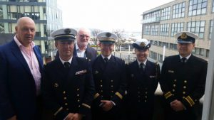 Gerry Dunne CEO DLHC, 3 Captains of the Navy Ships, Simon Coate DLHC Harbour Master and Irish Navy