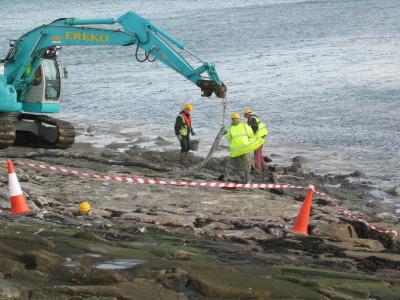 Storm damage repairs East Pier beat the tide