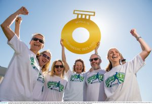 21 April 2015; Former World Champion and Olympic silver medallist, Sonia O'Sullivan, launches the Sonia 5K, in association with Euromedic Ireland, which takes place in Dun Laoghaire on Saturday, June 13th, to mark the 20th Anniversary of her historic victory in the 5000 metres at the IAAF World Championships in Gothenburg in 1995. Pictured are Sonia O'Sullivan with athletes from left, Olwyn Dunne, Ann Grennan, Marie Therese McCoy, Niall Campbell and Orna Dilmorth. Royal Marine Hotel, Marine Road, Dun Laoghaire, Dublin. Picture credit: David Maher / SPORTSFILE